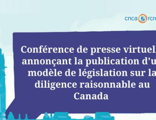 Communiqué: Des défenseurs des droits humains et des experts juridiques présentent un plan d'action pour l'élaboration d'une nouvelle loi canadienne sur la responsabilité des entreprises à l'étranger